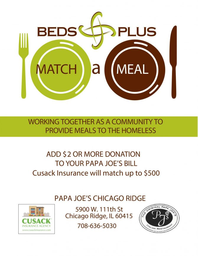 Match a Meal Program – Cusack Insurance and Papa Joe's Chicago Ridge
