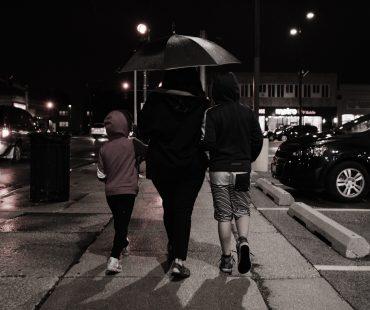 Mom w Kids in Rain